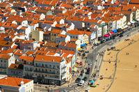 Aerial Skyline town Nazare, Portugal