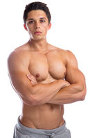 Bodybuilder Bodybuilding Muskeln Mann stark muskulös jung Oberkörper Freisteller