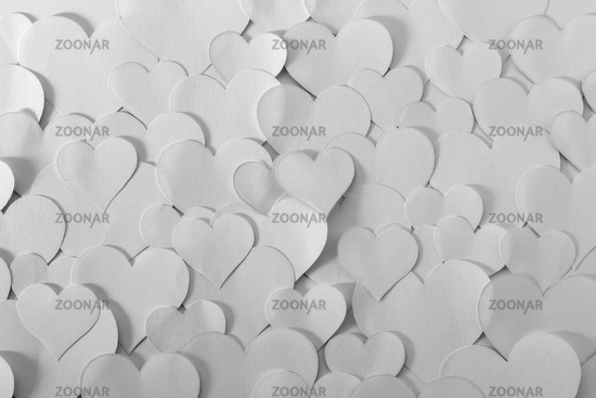 Heart shape papers, black and white