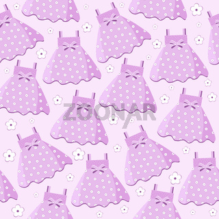 seamless pattern with baby girl dresses