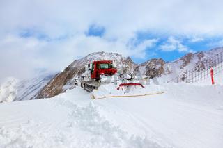 Machine for skiing slope preparations at Kaprun Austria