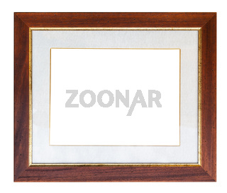wide brown wooden picture frame with passepartout