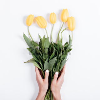 Female hands with manicure holding a bouquet of yellow tulips on a white background
