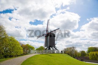 Windmill in Bruges, Northern Europe, Belgium.