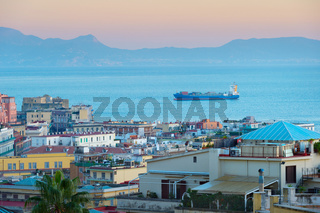 Shipping tanker in Italy city