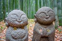 Jizo Statues in Arashiyama bamboo forest, Kyoto, Japan
