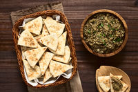 Sesame Pita Chips with Roasted Eggplant Dip