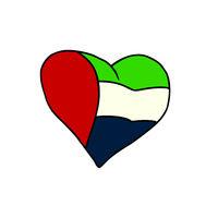 UAE isolated heart flag on white background