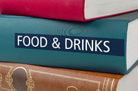 A book with the title Food and Drinks written on the spine