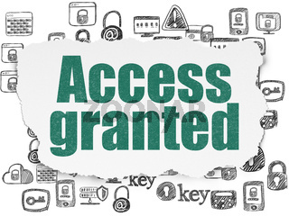 Safety concept: Access Granted on Torn Paper background