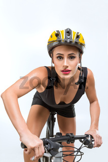 Beautiful woman on bicycle