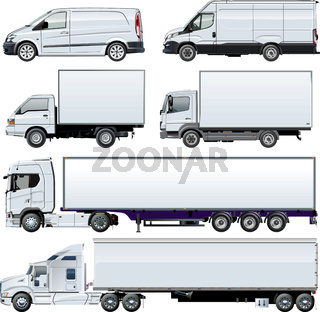 Vector trucks template isolated on white