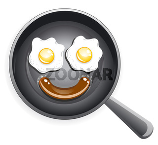Smile! Fried eggs and sausage on frying pan
