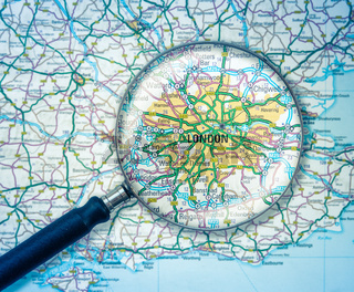 London Map With Magnifying Glass