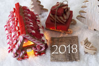Gingerbread House, Sled, Snow, Text 2018