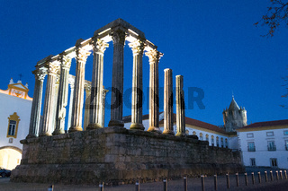 Night picture of the roman temple of Evora (Portugal).
