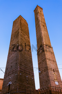 Famous Asinelli tower in Bologna Italy