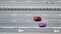 Top view of the town road with two cars Kiev, Ukraine. Drone photography