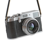 Hanging vintage retro photo camera isolated on the white backgroundl.