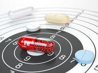 Pill with iron FE ferrum element in the center of target.Dietary supplements, vitamines and nutritional concept.
