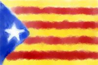 fahne katalonien - abstrakte gemalte illustration