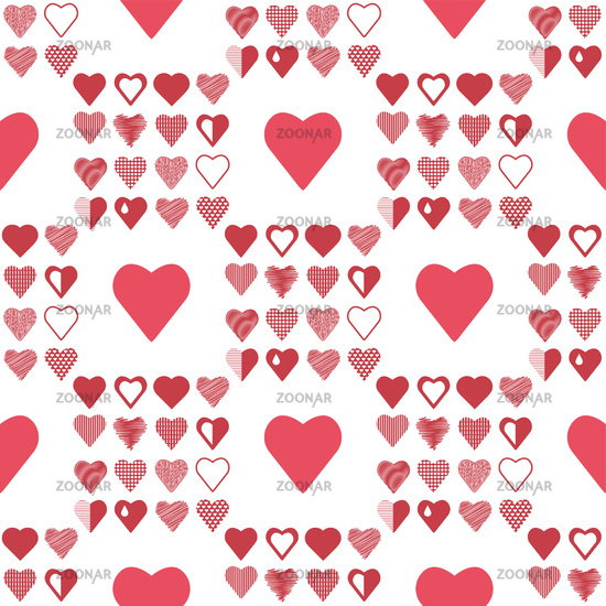 Romantic Red Heart Seamless Pattern