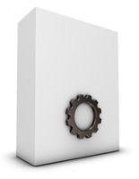 weiße box und zahnrad auf weißem hintergrund - 3d rendering