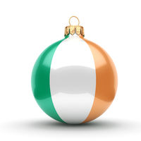 3D rendering Christmas ball with the flag of Ireland