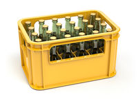Crate full of beer bottles isolated on white background