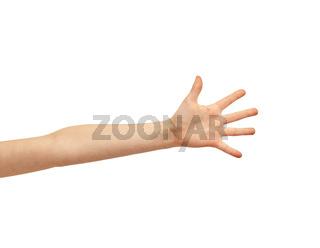 child hand over white background