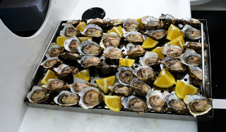 Fresh opened oysters at the boat in Walvis bay, Namibia
