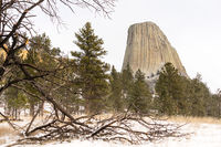 Devils Tower Wyoming Winter Snow Rock Butte