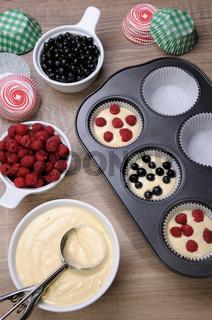 baking muffins stuffed