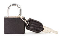 Black padlock with a keys