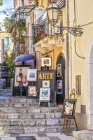 Art For Sale In A Side Street Taormina, Italy