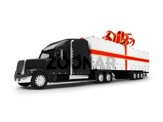 isolated present trailer on white background