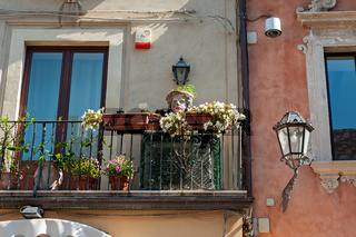 Balcony decorated with typical vases