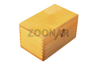 closed wooden box isolated on white background for your design