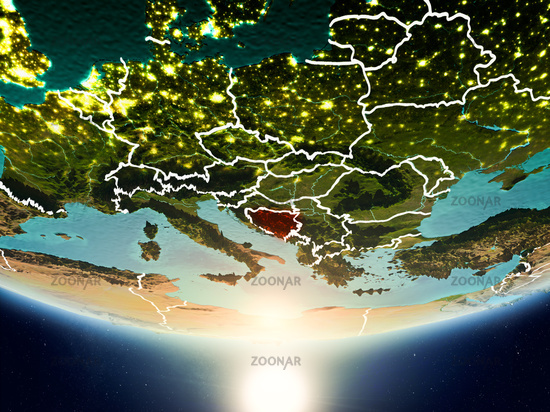 Bosnia and Herzegovina with sun on planet Earth