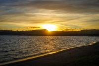 Taupo Lake at sunset, New Zealand