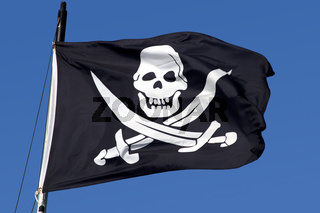 A pirate ship flag.