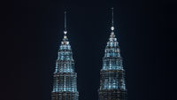 Illuminated Petronas Twin Towers, Kuala Lumpur