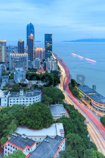 Xiamen Gulangyu Island And Lujiang Road And Shimao Strait Building