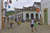 Paraty, Brazil, Street View Decorated for Carnival