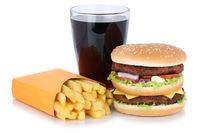 Doubleburger Double Burger Hamburger Menu Menü Menue mit Pommes Frites Cola Getränk Fast Food Freisteller freigestellt