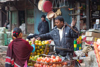 Fruit seller in the streets of Bhaktapur, Nepal