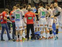Auszeit Frisch Auf Göppingen  beim DKB-Handball Punktspiel SC Magdeburg - Frisch Auf Göppingen am 22.02.2018 in Magdeburg
