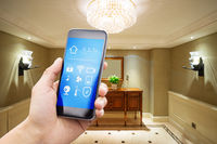 smart phone with modern room