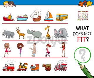 find picture not fit in a row educational game