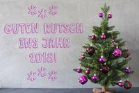 Christmas Tree, Cement Wall, Guten Rutsch 2018 Means New Year